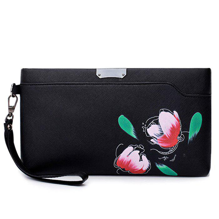 Hand Painted Faux Leather Wristlet Bag - BLACK