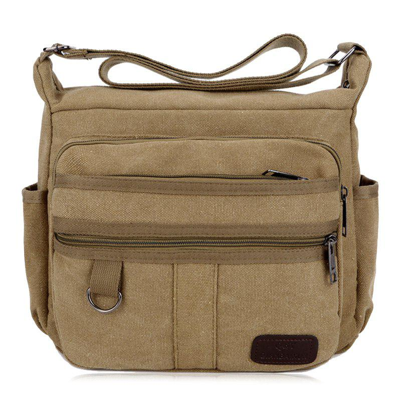 Multi Zippers Canvas Metal Crossbody Bag - KHAKI