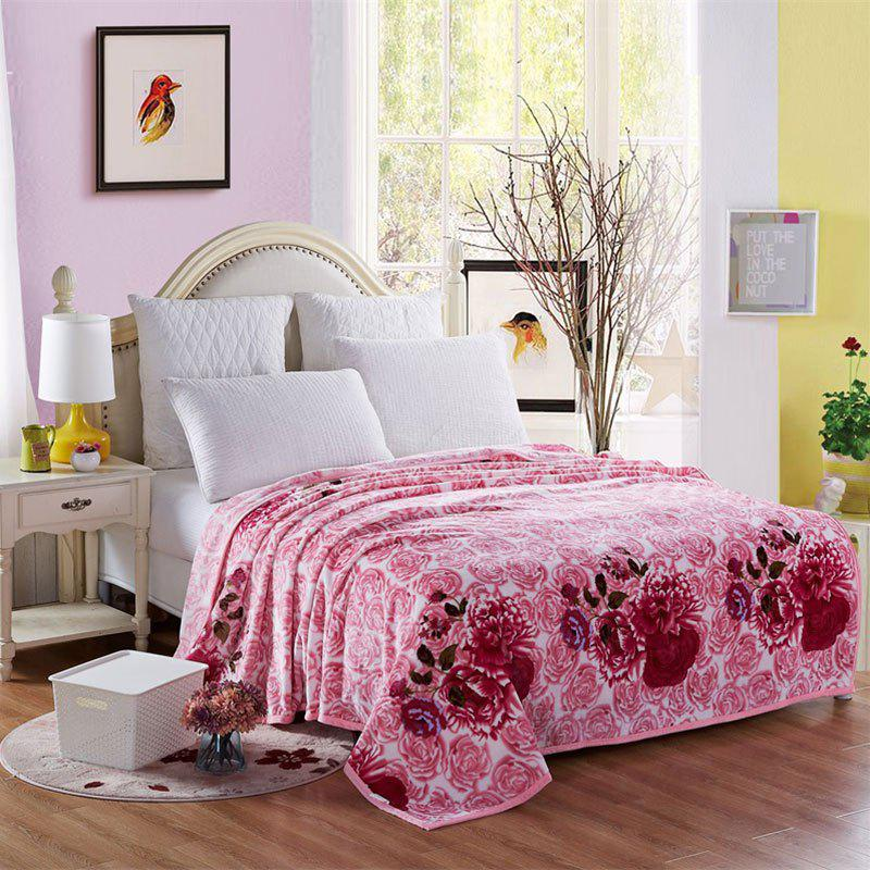 Blooming Rose Print Soft Throw Blanket - ROSY PINK DOUBLE