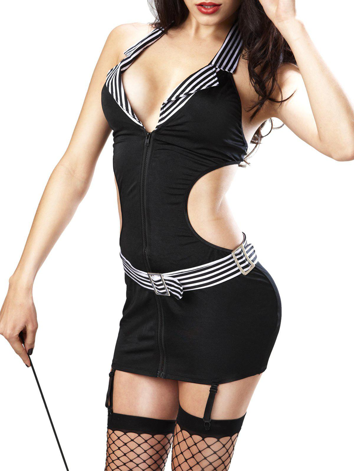 Zip Up Striped Panel Teacher Costume - BLACK ONE SIZE