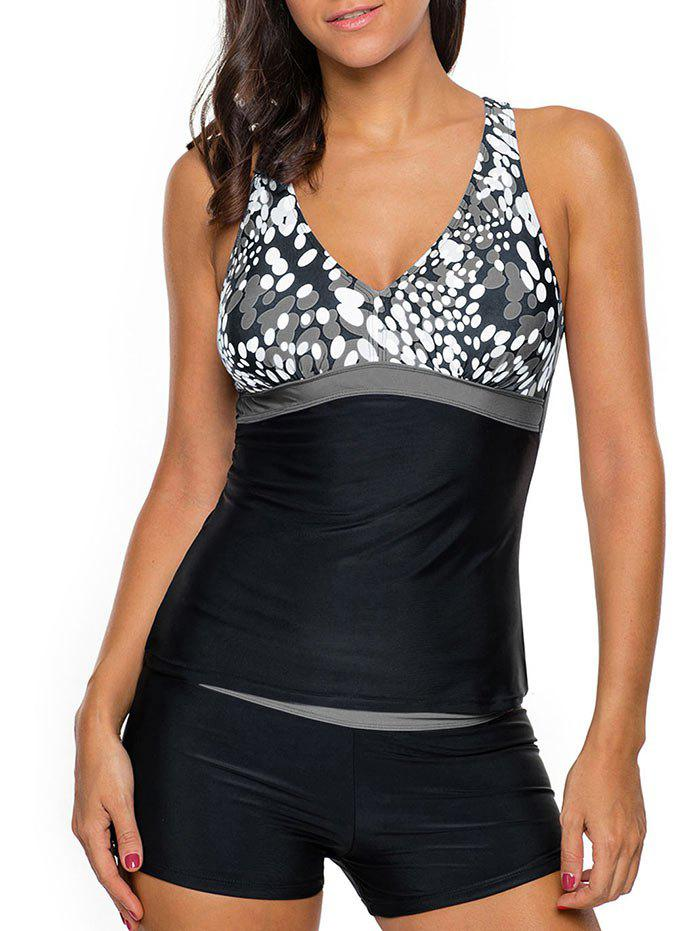 Printed Cross Back Tankini Set - GRAY XL
