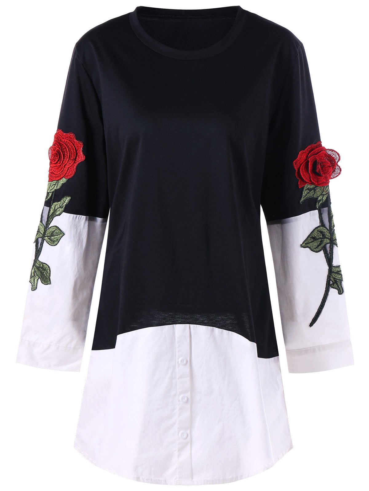 Rose Applique Contrat Shirt Hem Longline Top