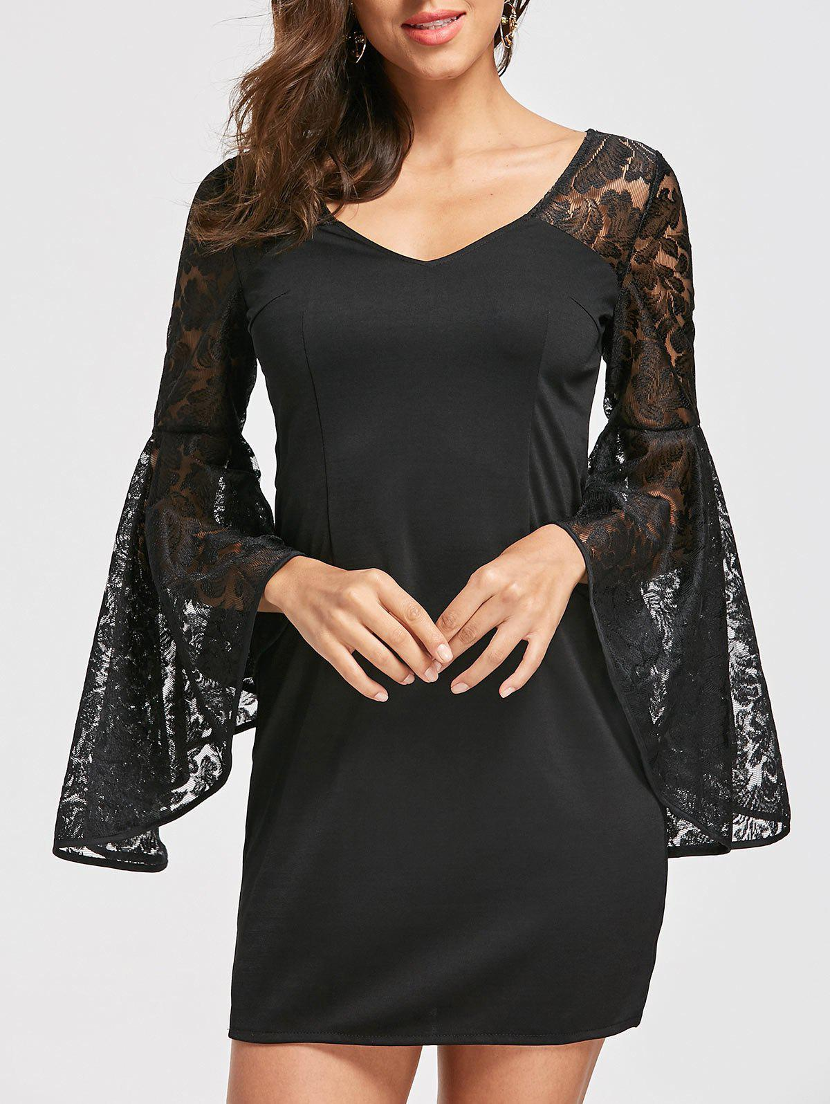 Bell Sleeve Lace Panel Dress - BLACK XL