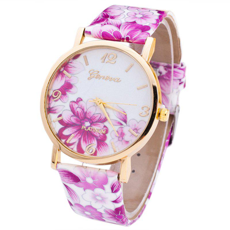 Flowers Print Faux Leather Number Watch faux leather flowers mini backpack