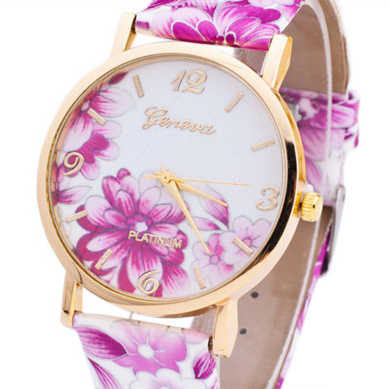 Flowers Print Faux Leather Number Watch - PURPLE