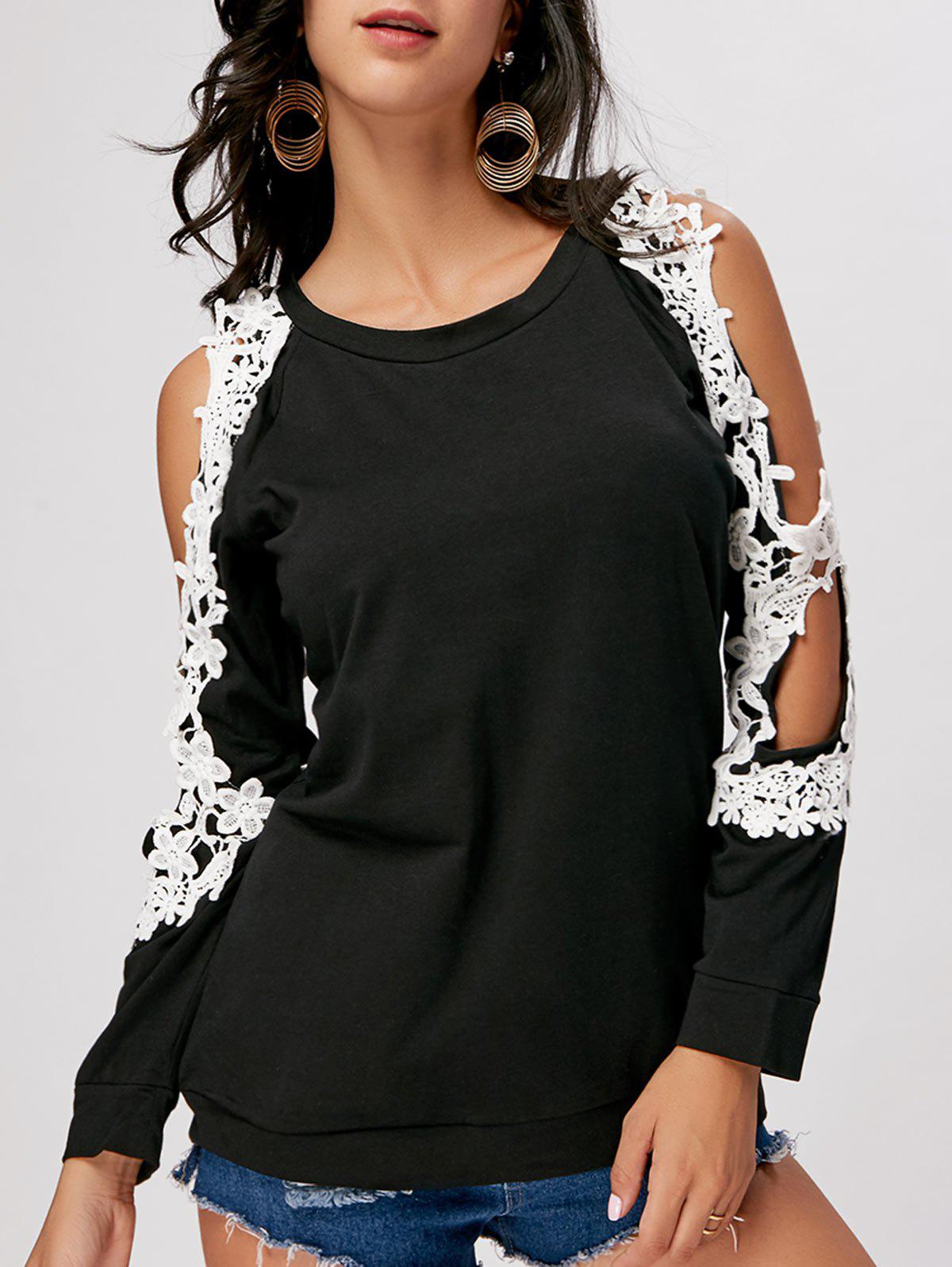 Crochet Trimmed Split Sleeve Top - BLACK 2XL