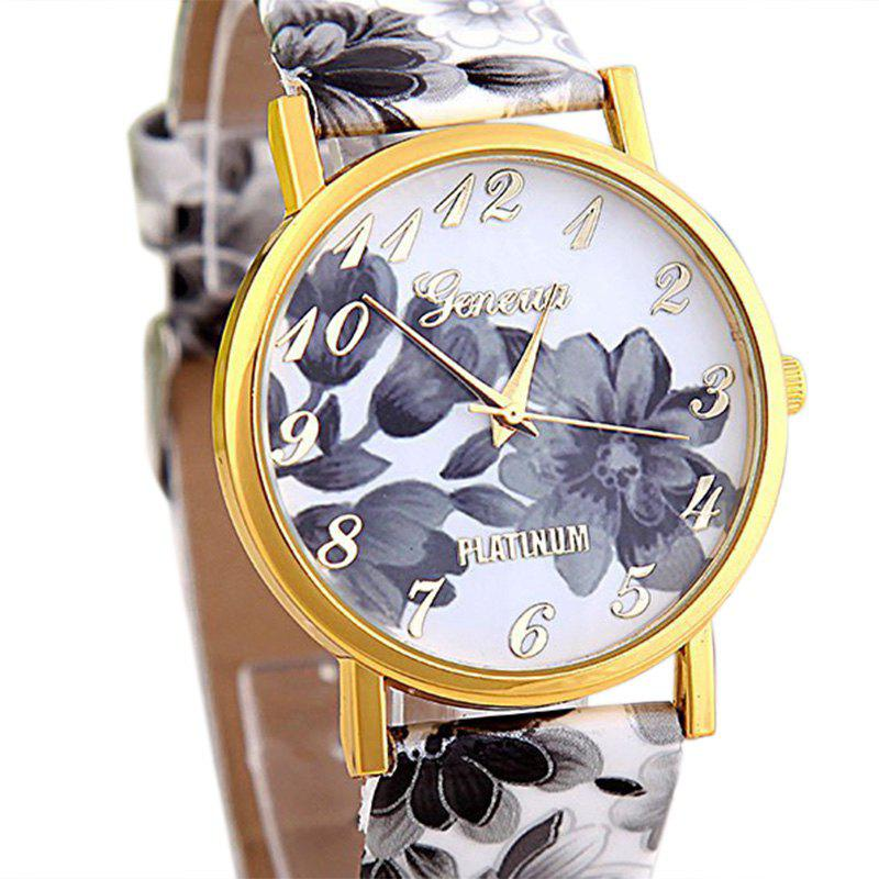 Flowers Print Faux Leather Number Watch - GRAY