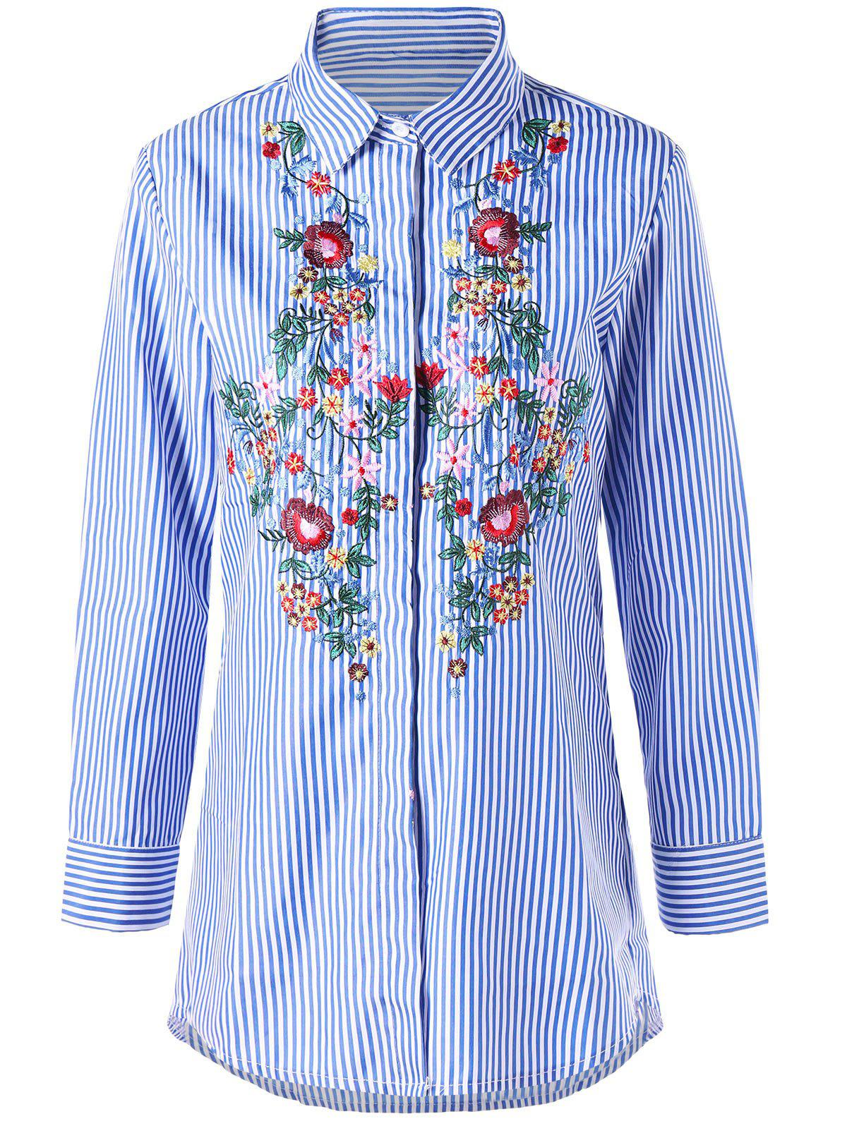 Striped Tunic Floral Embroidered Shirt striped tunic floral embroidered shirt