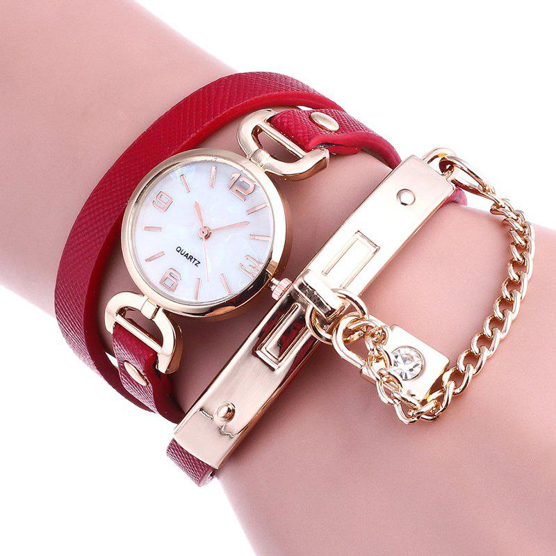 Lock Wrap Bracelet Watch - RED