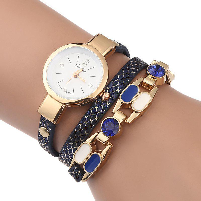 Rhinestone Wrap Bracelet Watch - ROYAL