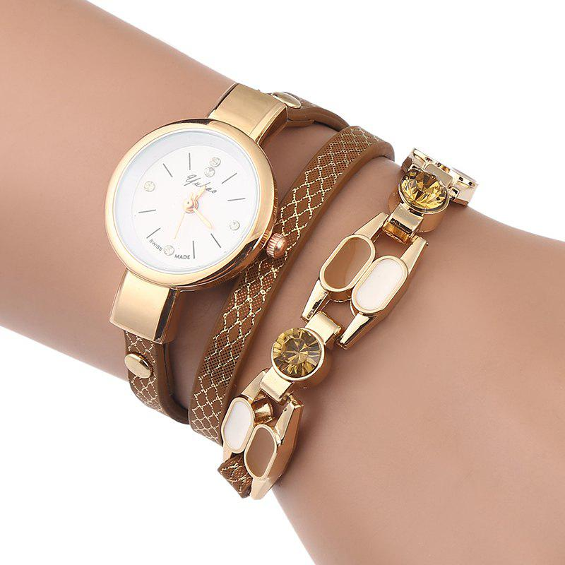 Rhinestone Wrap Bracelet Watch - BROWN