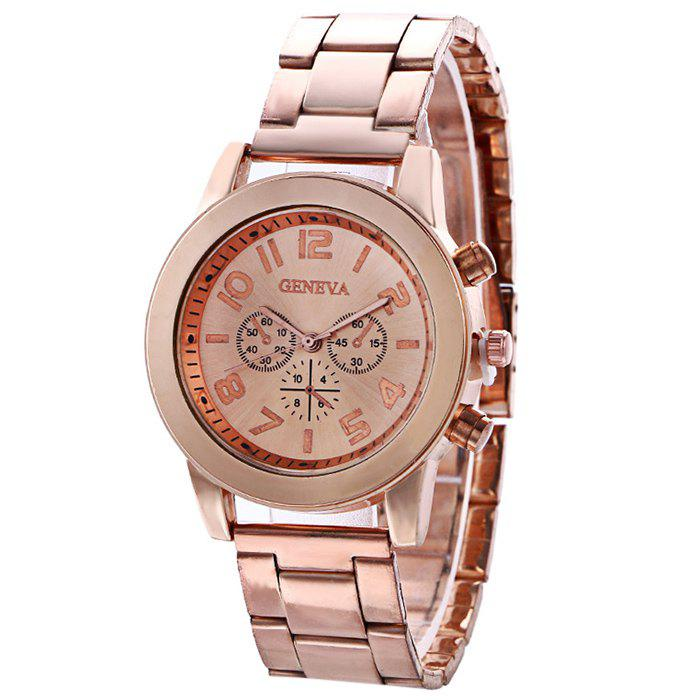 Steel Strap Number Quartz Watch - ROSE GOLD