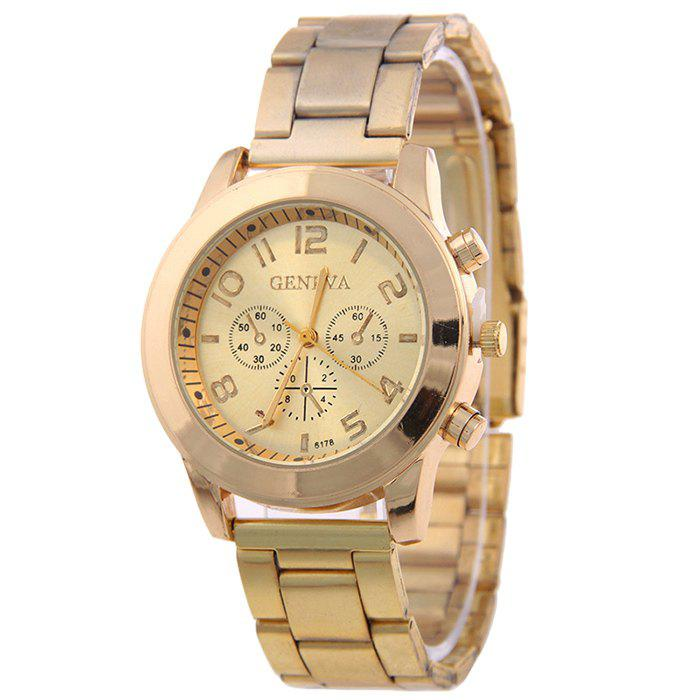 Steel Strap Number Quartz Watch - GOLDEN