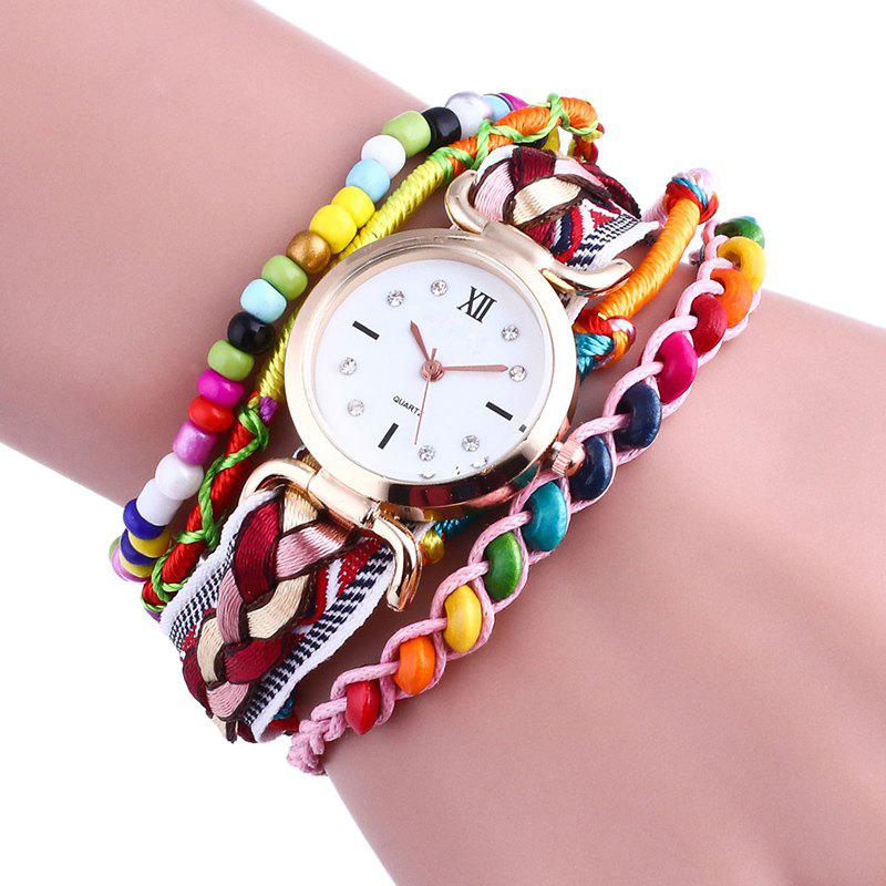 Beaded Braided Bracelet Watch - BROWN