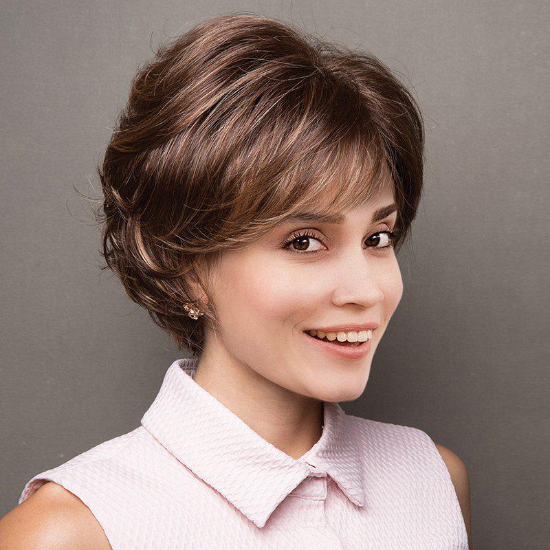 Short Side Bang Colormix Layered Shaggy Slightly Curled Synthetic Wig