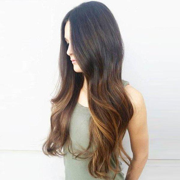 Middle Part Long Wavy Colormix Synthetic Wig medium shoulder length middle part wavy synthetic wig