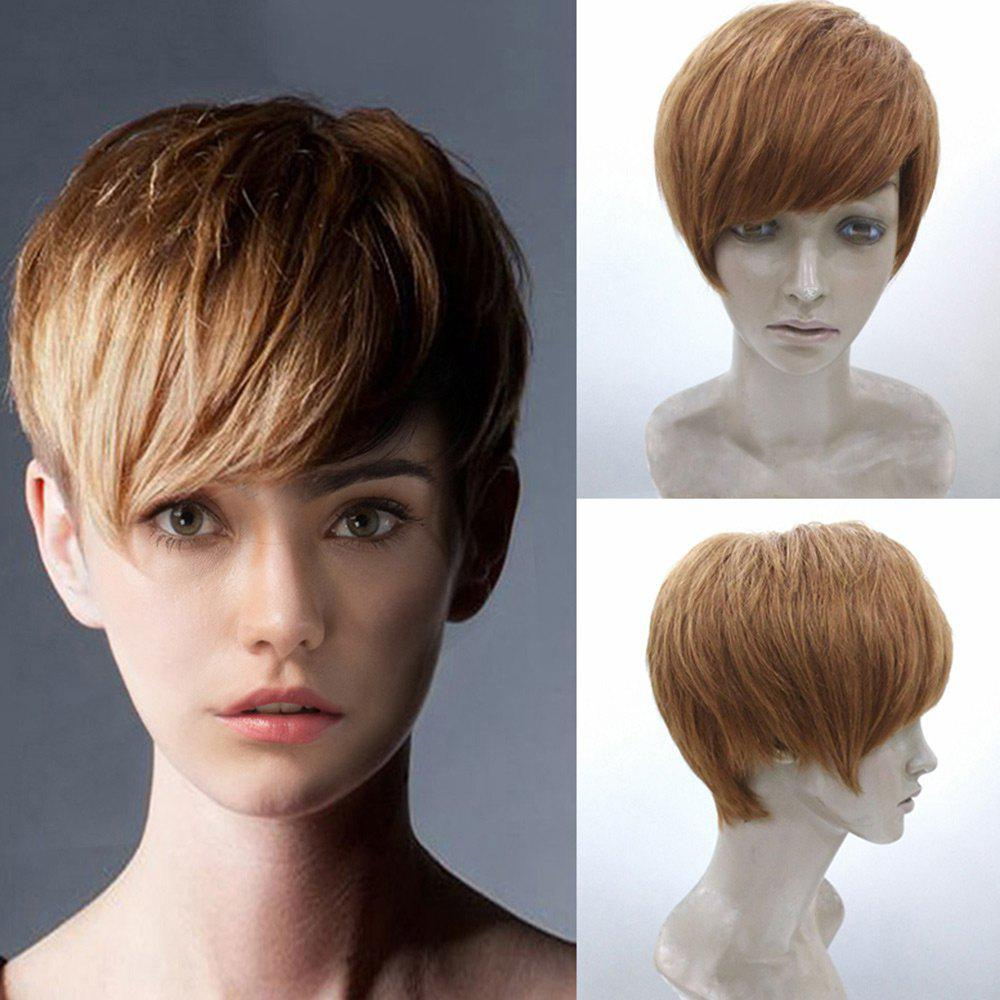 Short Layered Straight Human Hair Wig With Side Bang - AUBURN BROWN 28CM
