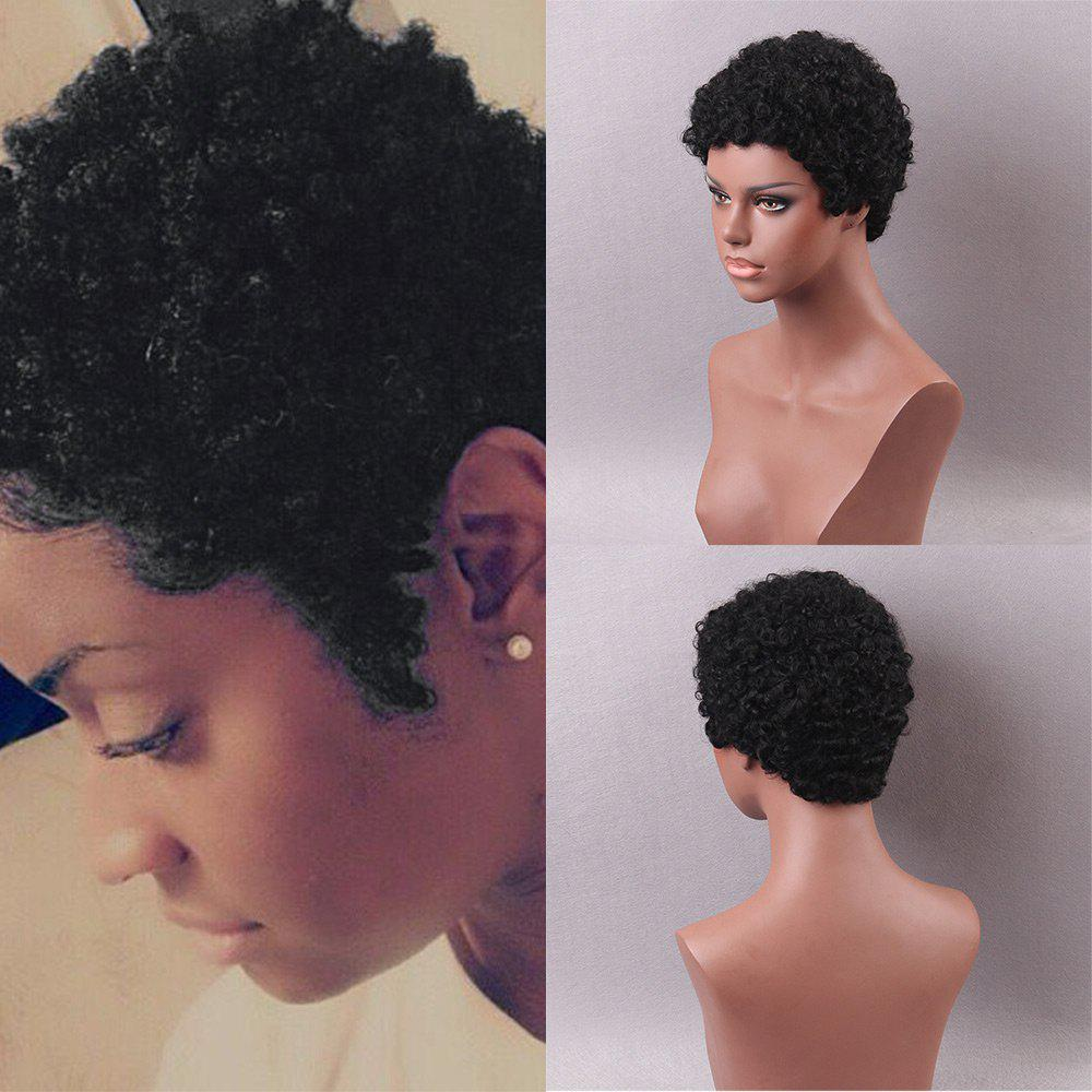 Short Inclined Bang Shaggy Afro Curls Pixie Human Hair Wigs - BLACK 22CM