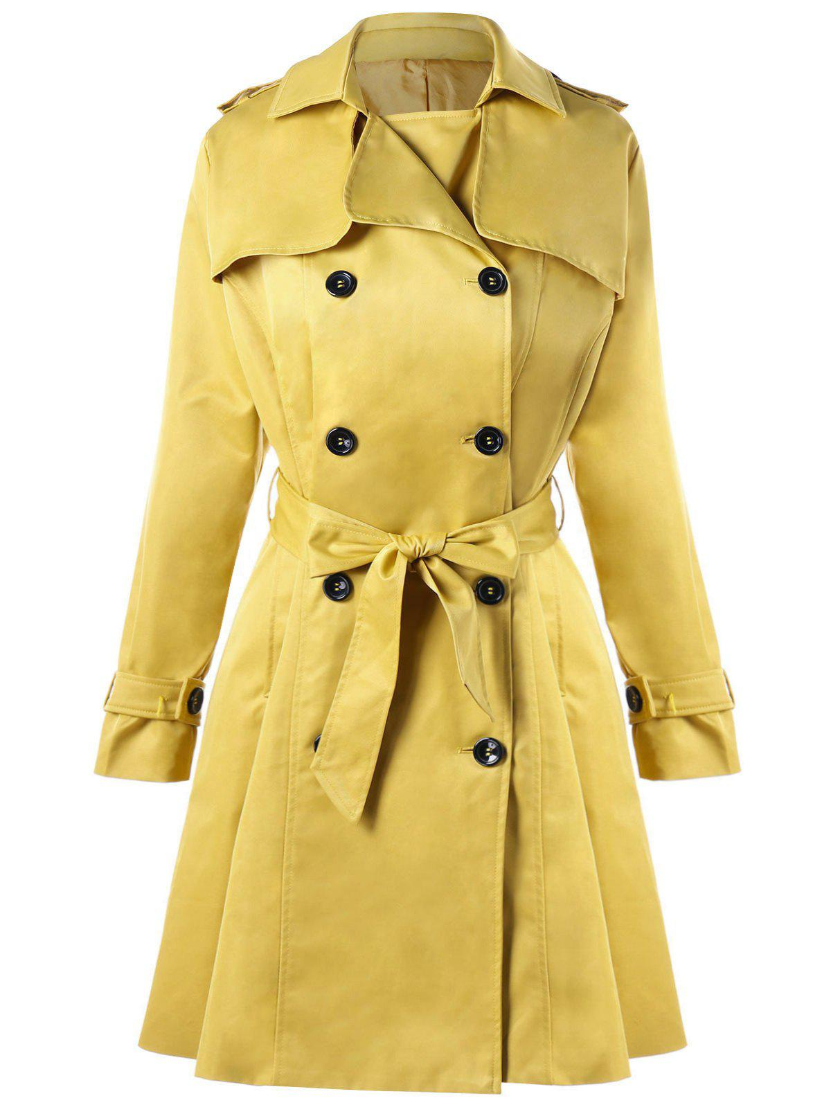 Tie Belt Double Breasted Trench Coat slim double breasted tied belt trench coat
