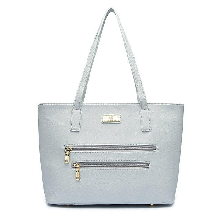 Faux Leather Metal Shoulder Bag - GRAY