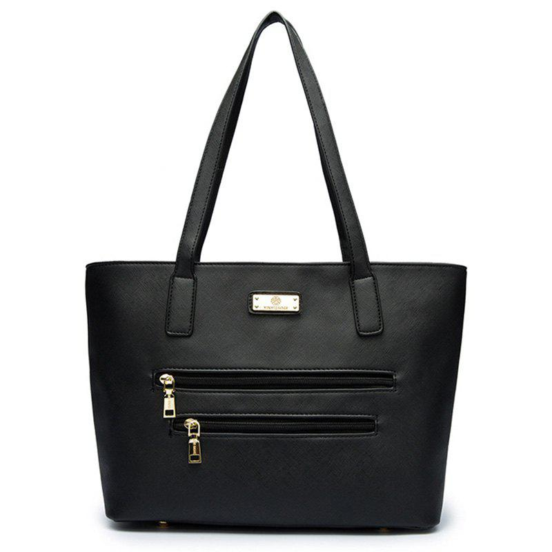 Faux Leather Metal Shoulder Bag - BLACK