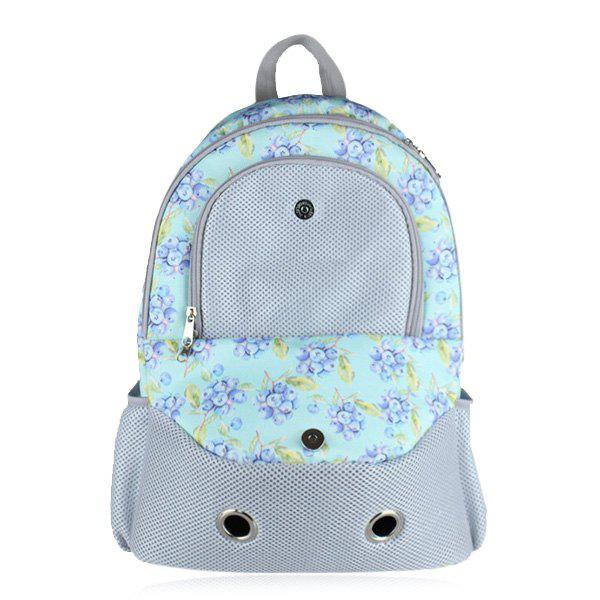 Grommet Flower Print Pet Backpack - BLUE