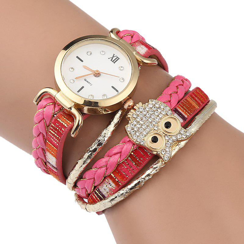 Owl Braided Bracelet Watch - PINK