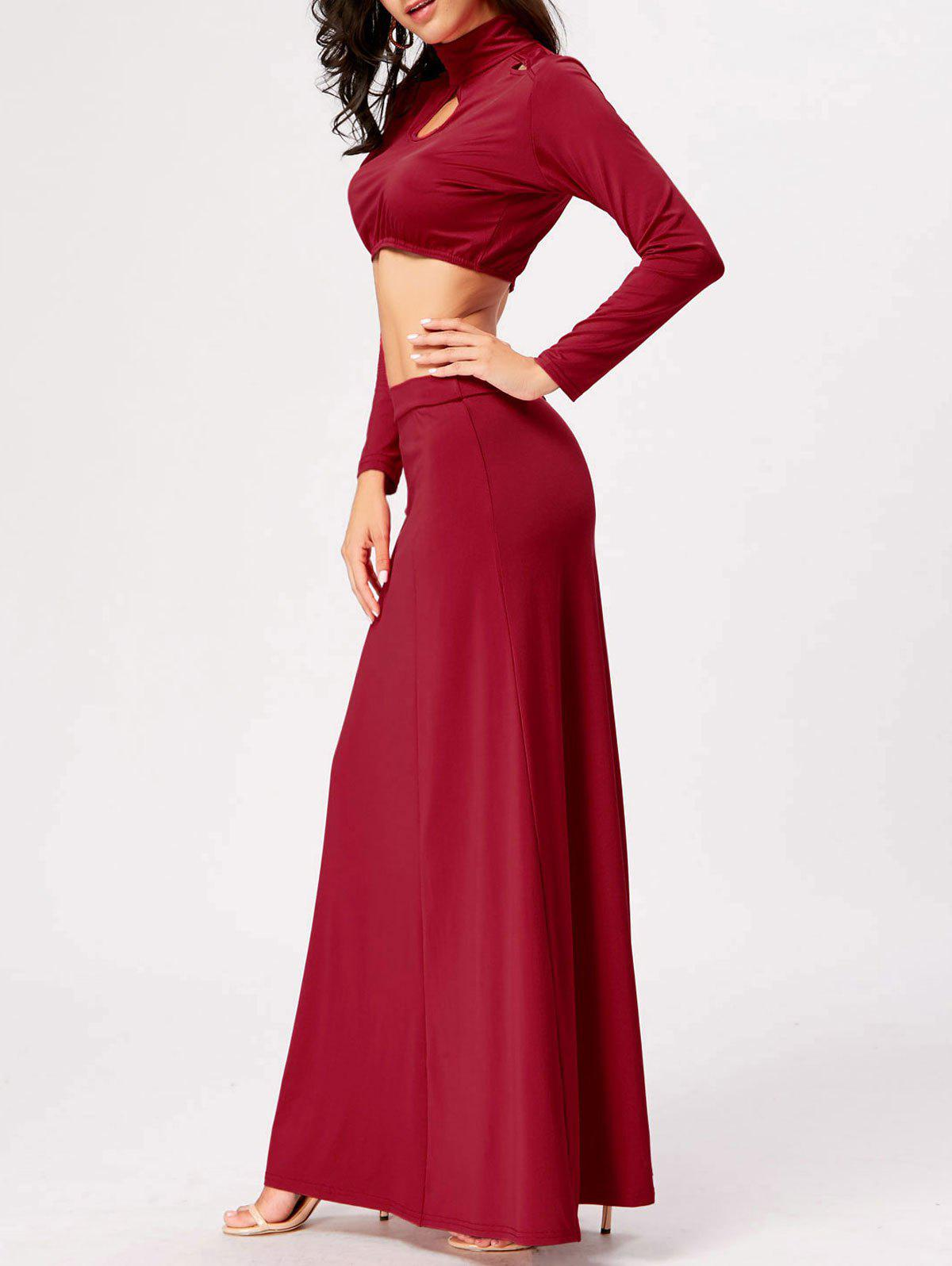 Cut Out High Waist Two Piece Party Dress - RED 2XL