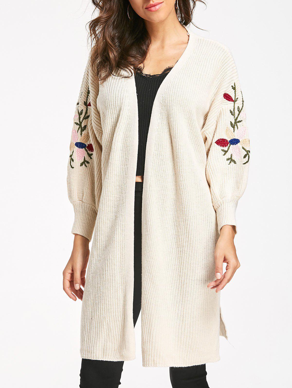 2018 Embroidered Cable Knit Long Cardigan OFF WHITE ONE SIZE In ...