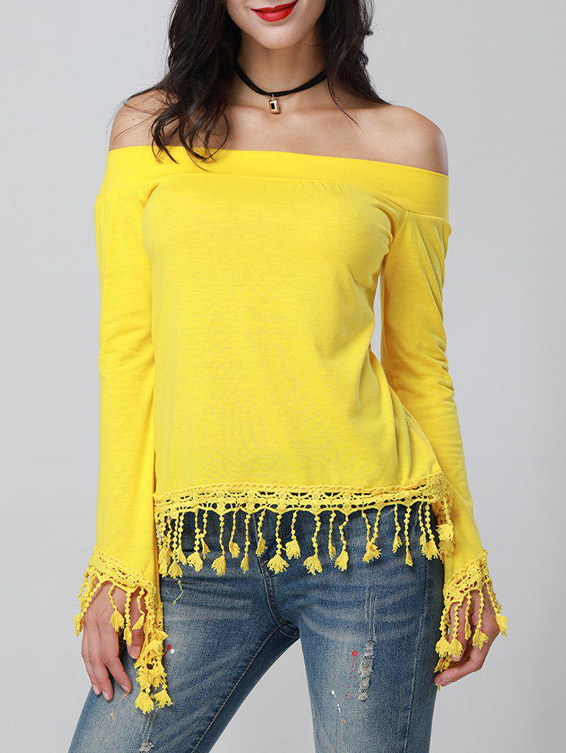 Off The Shoulder Tassel Top - YELLOW M