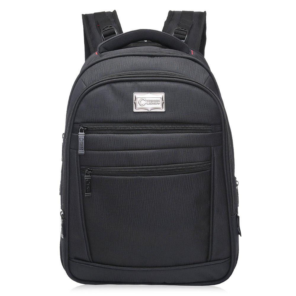 Multi Zippers Padded Strap Laptop Backpack - BLACK VERTICAL