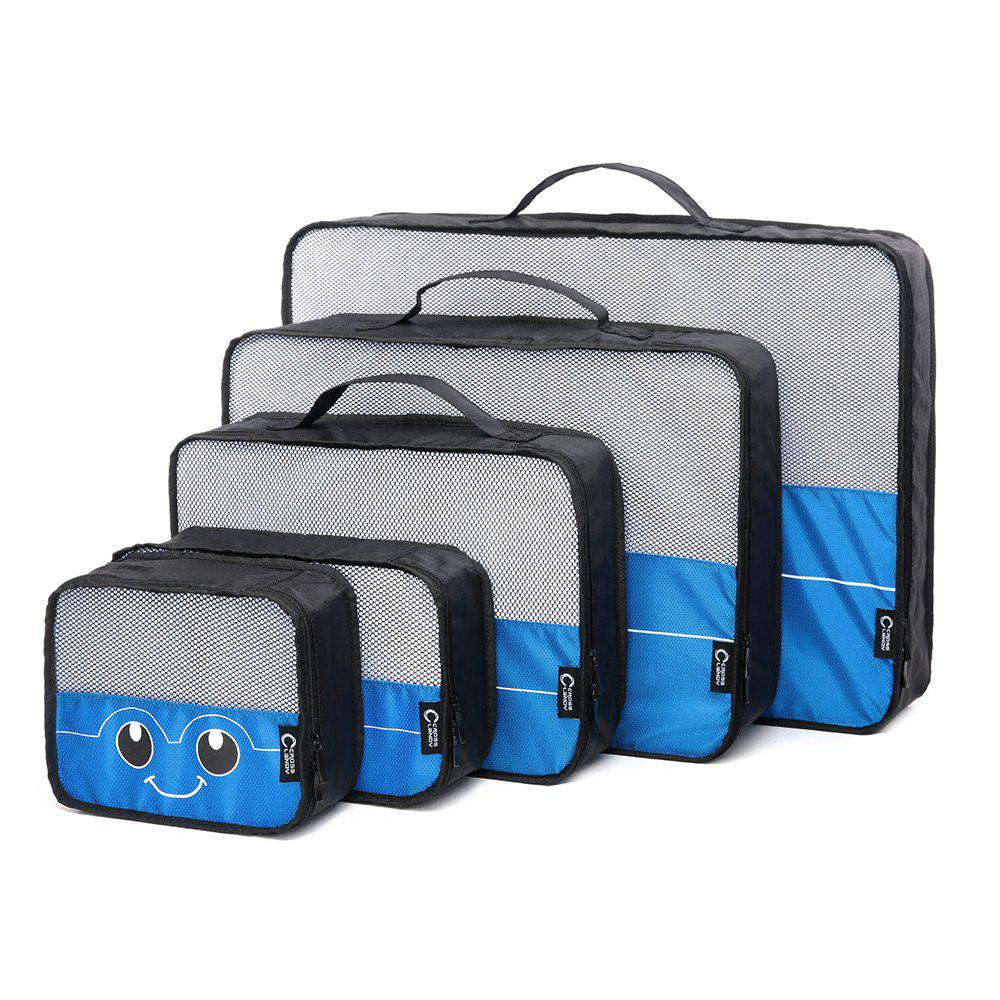 Mesh Insert 5 Pieces Travel Storage Bags and 2 Drawstring Bags - BLUE HORIZONTAL