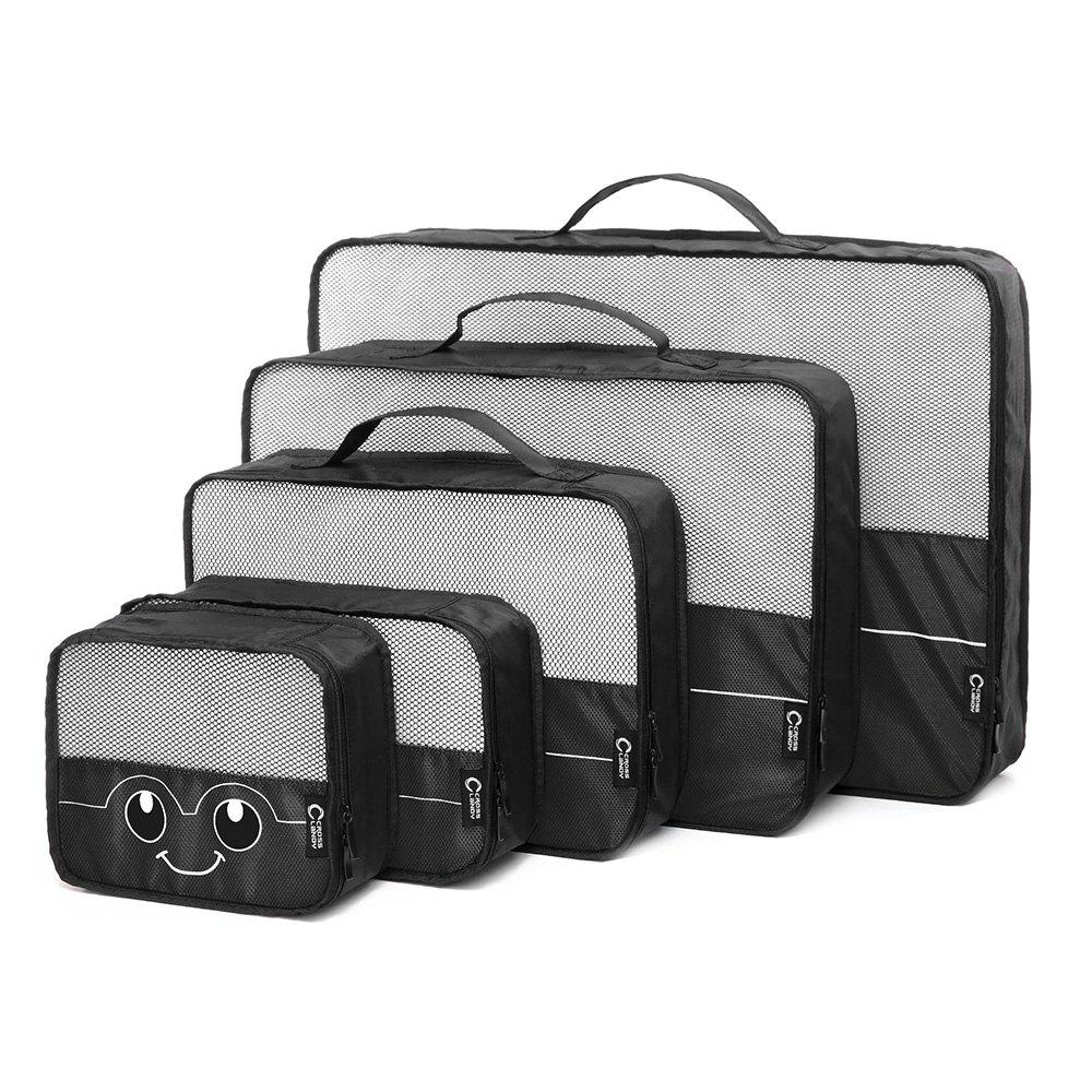 Mesh Insert 5 Pieces Travel Storage Bags and 2 Drawstring Bags - BLACK HORIZONTAL