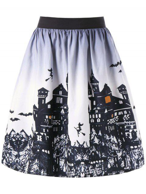 Halloween Castle Print Ombre Swing Skirt - WHITE/BLACK 2XL