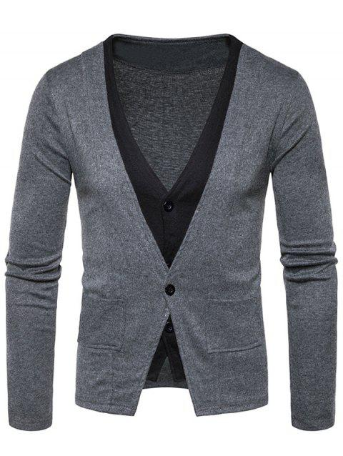 Button Up Faux Twinset Cardigan - DEEP GRAY M