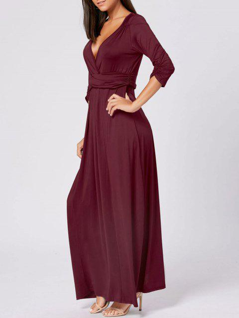 V Neck Empire Waist Maxi Party Dress - WINE RED L