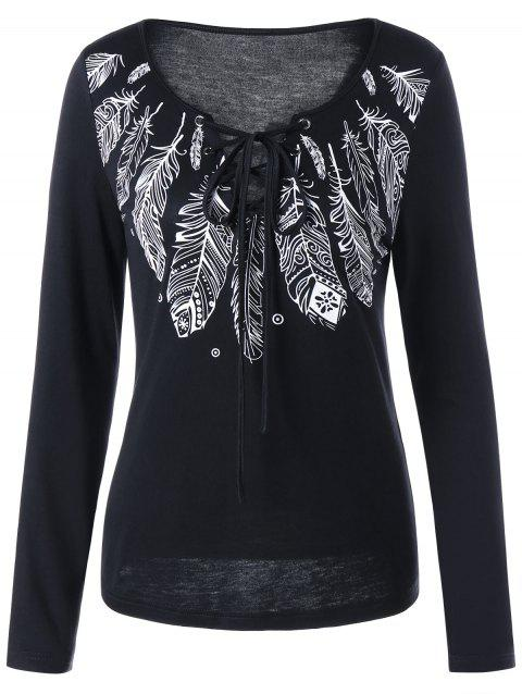 Long Sleeve Feather Print Lace Up T-shirt - BLACK 2XL