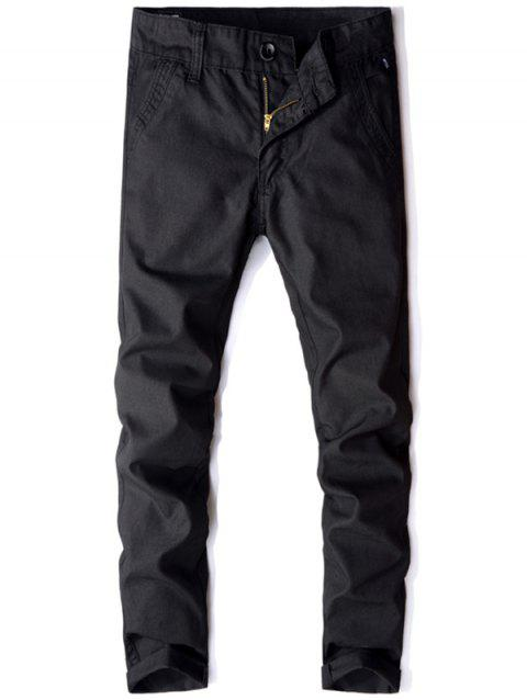 Flap Pocket Zip Fly Casual Pants - BLACK 36