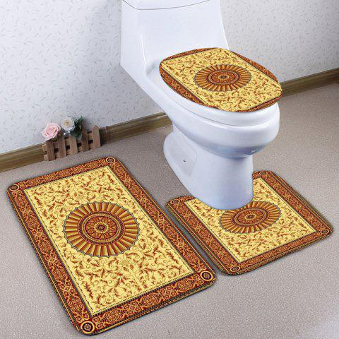 Flannel Ethnic Printed 3Pcs Bath Toilet Rugs Set - YELLOW