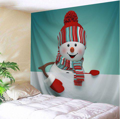 Christmas Snowman Print Tapestry Wall Hanging Decoration - multicolore W79 INCH * L71 INCH