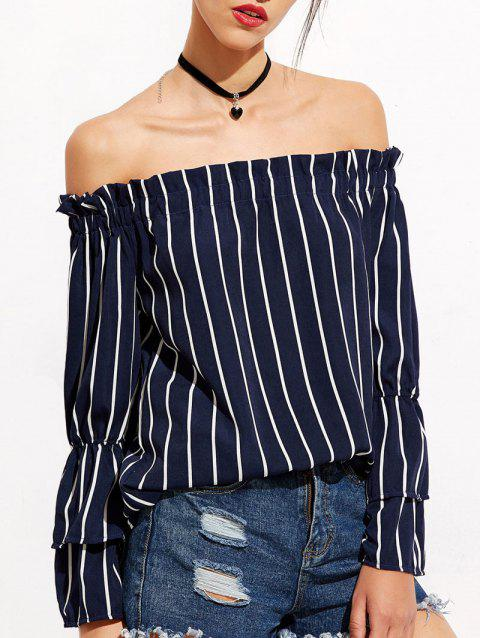 Stripe Bell Sleeve Off The Shoulder Blouse - DEEP BLUE XL