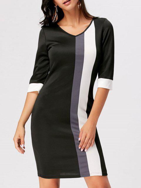 Color Block V Neck Work Sheath Dress - BLACK L