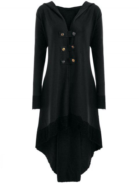 Lace-up Plus Size Hooded High Low Coat - BLACK XL