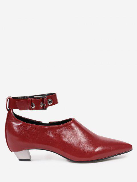 d542ad438976 2019 Pointed Toe Ankle Strap Flat Shoes with Eyelet In RED 37 ...