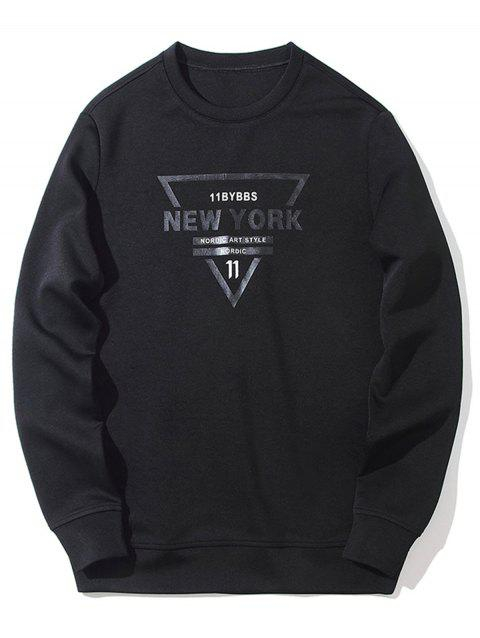 Letter Printed Crewneck Graphic Sweatshirt - BLACK L