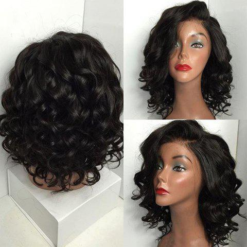 Short Deep Side Parting Shaggy Body Wave Bob Synthetic Wig - BLACK