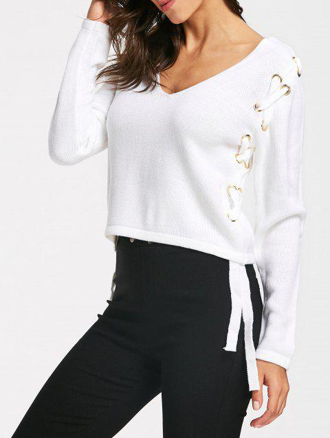 Cropped Lace Up V Neck Sweater - WHITE S