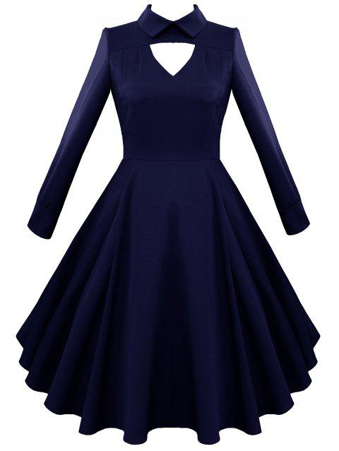 Keyhole A Line Vintage Dress - PURPLISH BLUE S