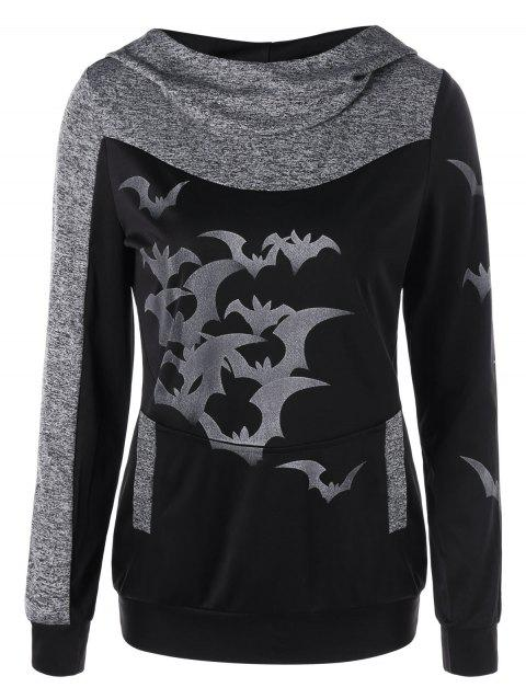 Halloween Bat Print Marled Hoodie - HEATHER GRAY L