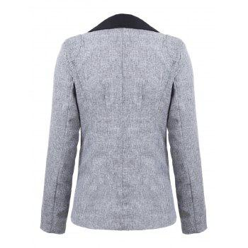 Color Block One Button Blazer - GRAY GRAY
